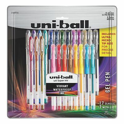 Uni-ball 24 Gel Pen Set 17 Classic 7 Metallic Colors Ultra Micro Medium Tip