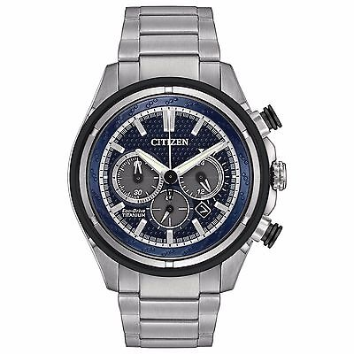 Citizen Eco-Drive Men's CA4240-82L Chronograph Blue Dial Titanium 46mm Watch