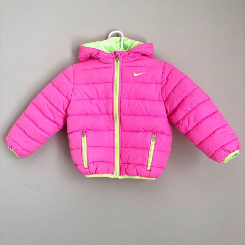 Nike Girls Size 24M Pink Jacket Full Zip Puffer Hooded Zip Pockets