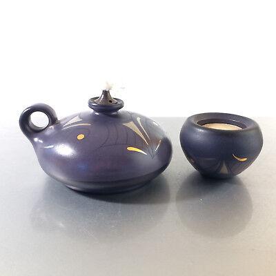 (z4) KMK Kupfermühle Dekor Platin lila gold Öllampe und Teelicht Öllicht