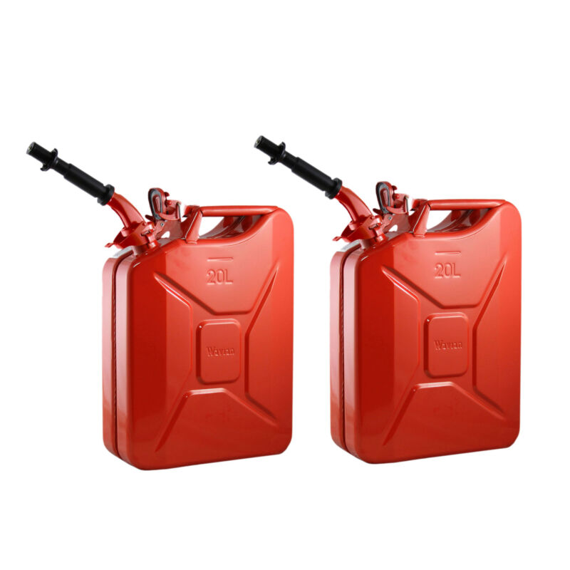 2) Wavian 3009 5.3 Gallon 20 Liter Authentic CARB Fuel Jerry Can with Spout, Red