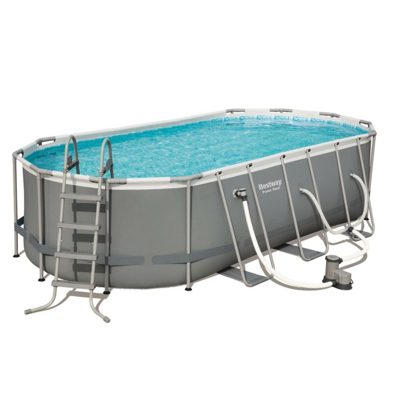 Bestway Power Steel 18ft x 9ft x 48in Above Ground Swimming Pool Set with Pump