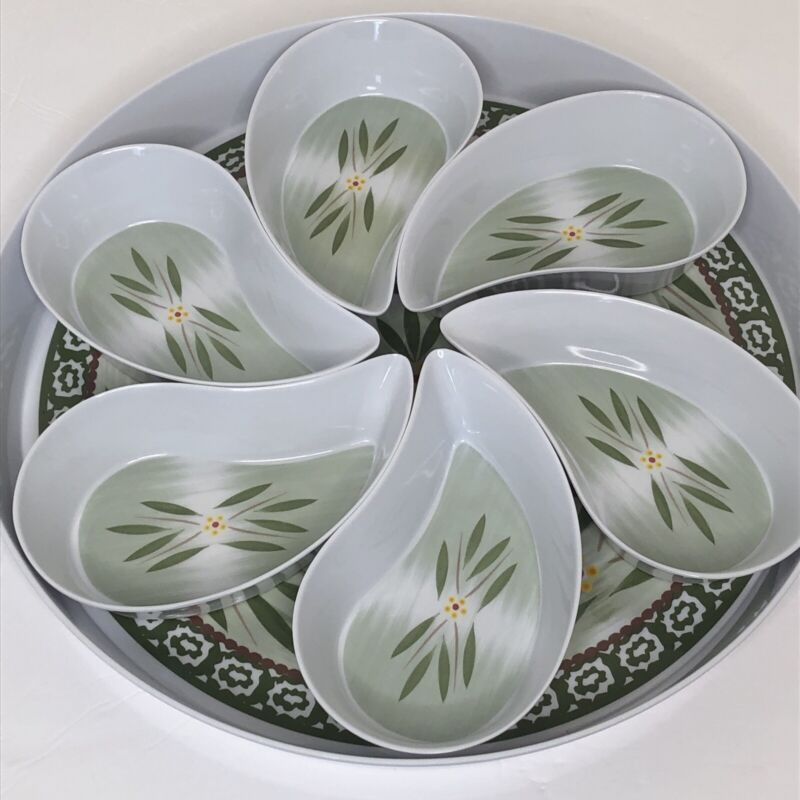 Temptations Old World Green Flowers Melamine Round Tray With Inserts Melmac