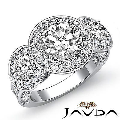 3 Stone Dazzling Round Diamond Solid Engagement Ring GIA G SI1 Platinum 2.3 ct 1