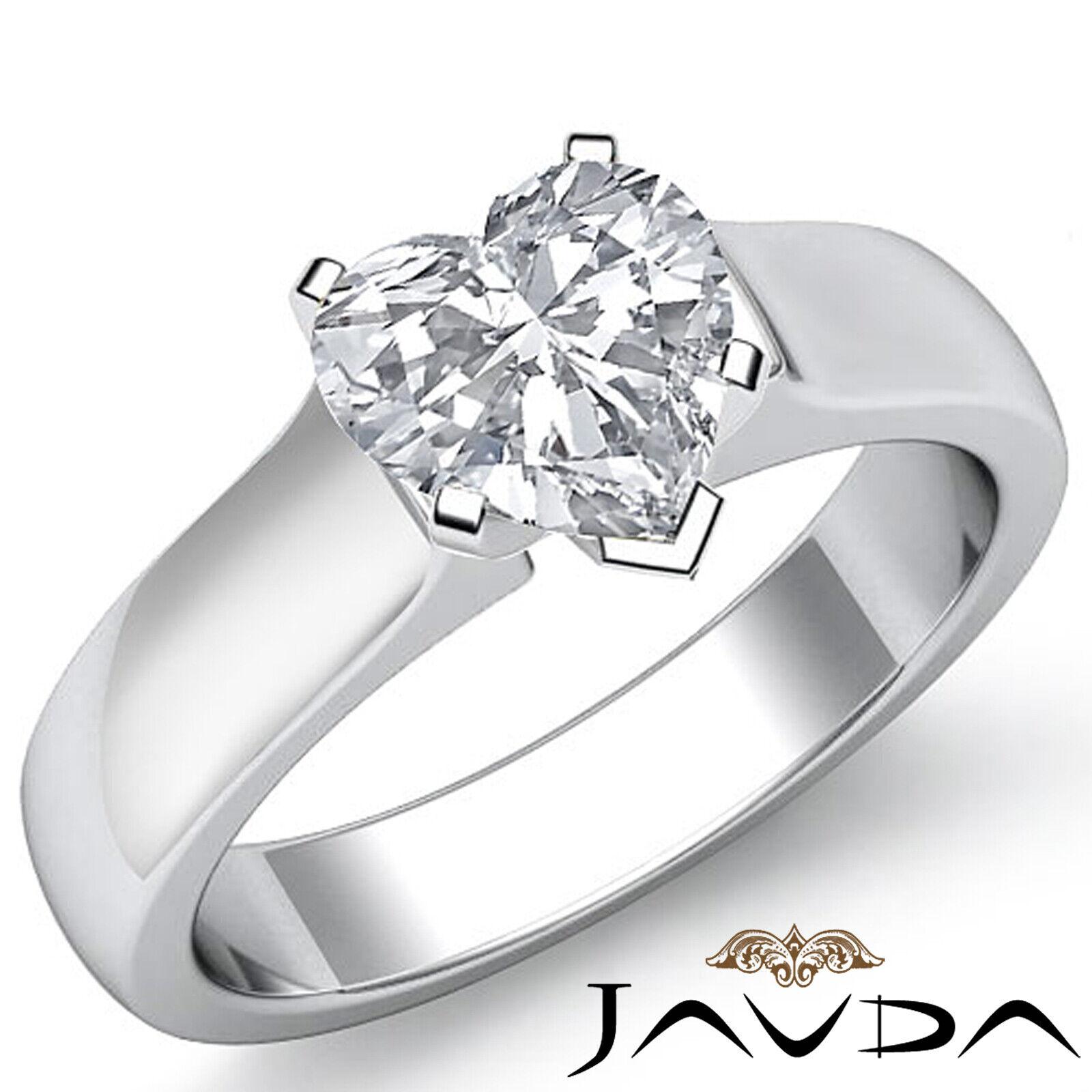 Contour Dome Solitaire Heart Diamond Engagement Gold Ring GIA E VS2 0.51 ct.