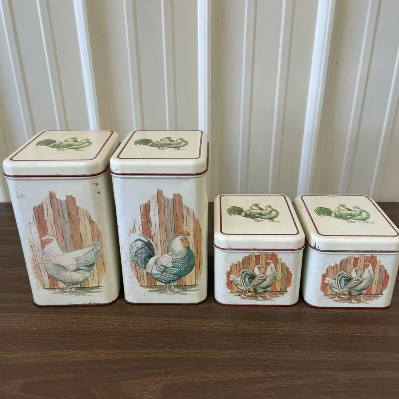 Cheinco Rooster & Hen Tin Canister 4 Piece Set Farmhouse Vintage