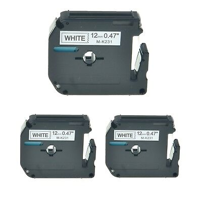 3pk M-k231 Mk231 Black On White Label Tape For Brother P-touch Pt-110 12mm 12