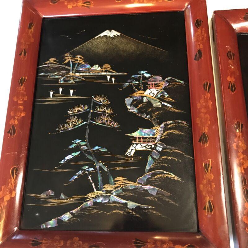 Set of 2 Vintage Asian Abalone Shell Black Lacquer Art Picture Framed Landscape