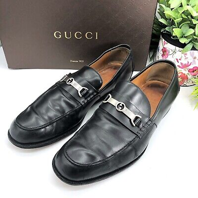 Gucci Authentic Vintage GG Logo Men's Loafers Black Leather 11 US 11.5/12
