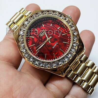 Diamond Luxury Watch - Luxury Hip Hop Iced Lab Diamond Mother of Pearl Red Dial Metal Wrist Bling Watch