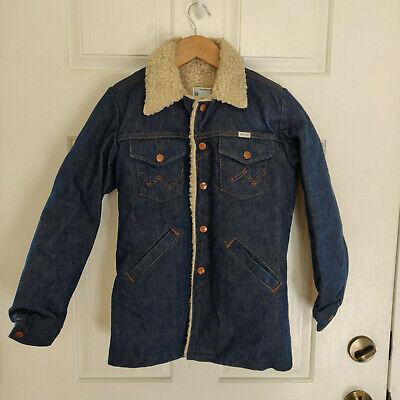 Vintage WRANGLER Denim Jean Jacket Size 12 WESTERN Sherpa Lined RANCHER Coat Denim Jean Jacket Coat