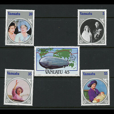 VANUATU 1984-85 UPU & Queen Mother. SG 385 & 406-409. Mint Never Hinged. (AX166)