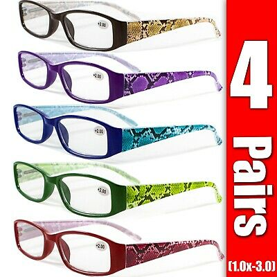 4 Pairs Mens Womens Unisex Spring Hinge Rectangular Reading Reader Glasses -