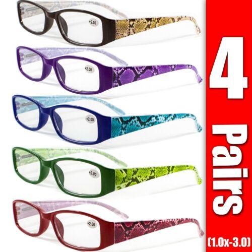 4 Pairs Mens Womens Unisex Spring Hinge Rectangular Reading Reader Glasses 1-3