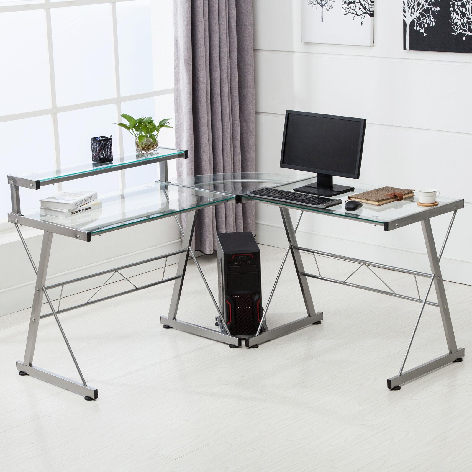 L Shape Corner Computer Desk Pc Glass Laptop Table Workstation Home Office Clear