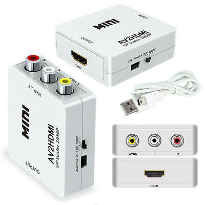 AV to HDMI Composite CVBS 3RCA AV to HDMI 1080p Converter Adapter Video Xbox PS3