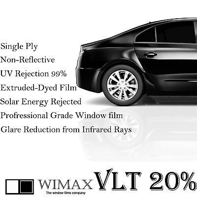 """Wimax Dark Smoke 20% VLT 60"""" In x 100' Ft Feet Uncut Roll Window Tint Car Film"""