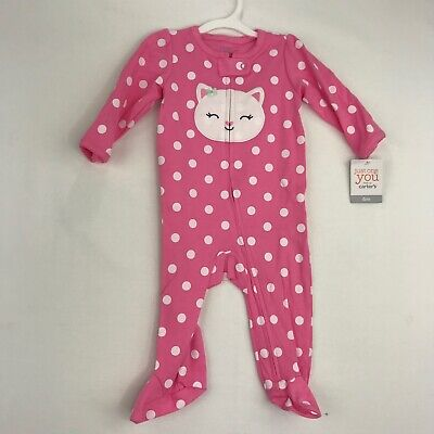Carters Just One You Baby Girls Size 6 Months One Piece Outfit Pink Kitty Polka