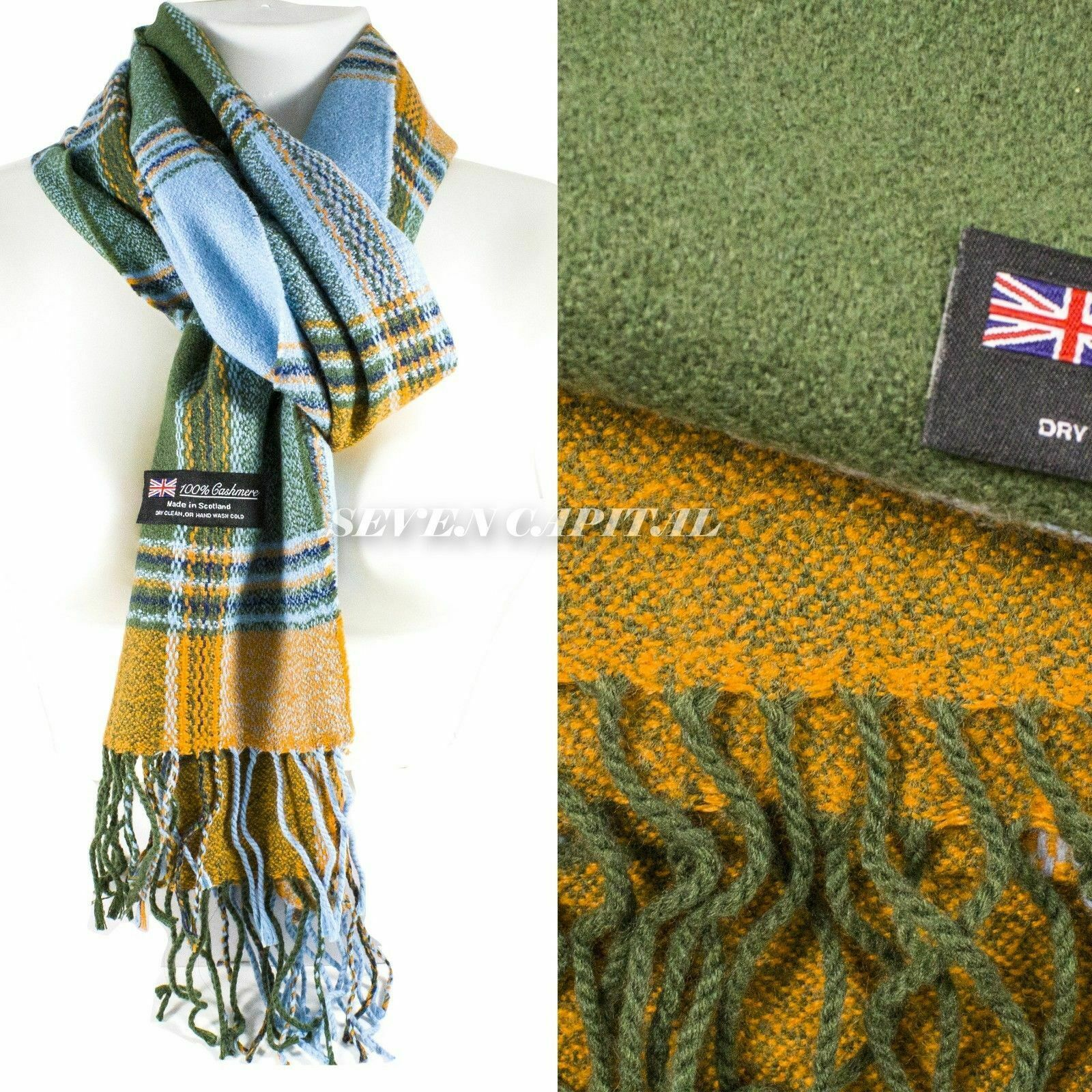 Mens Womens Winter Warm SCOTLAND Made 100% CASHMERE Scarf Scarves Plaid Wool 51. Multiple: Green/Teal