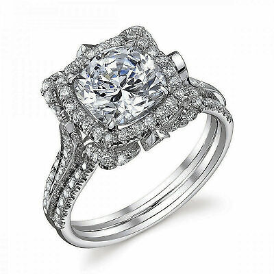 GIA Certified Diamond Engagement Ring 3.35 Carat total Natural Cushion 18K Gold