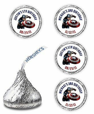 108 CAPTAIN AMERICA BIRTHDAY PARTY CANDY KISSES LABELS FAVORS SUPERHERO WRAPPER