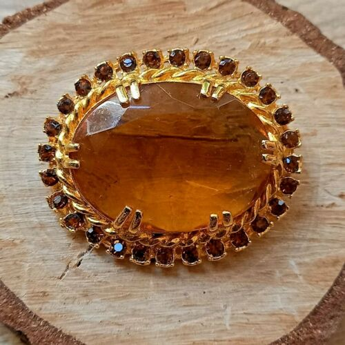 Vintage Large Amber Glass Gold Tone Brooch Statement MCM 60s Costume Jewellery