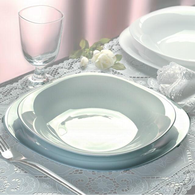 Bormioli Parma 18pc Square Dinner Service Set Opal Glass Dinnerware Dining Plate & Square Dinner Plates | eBay