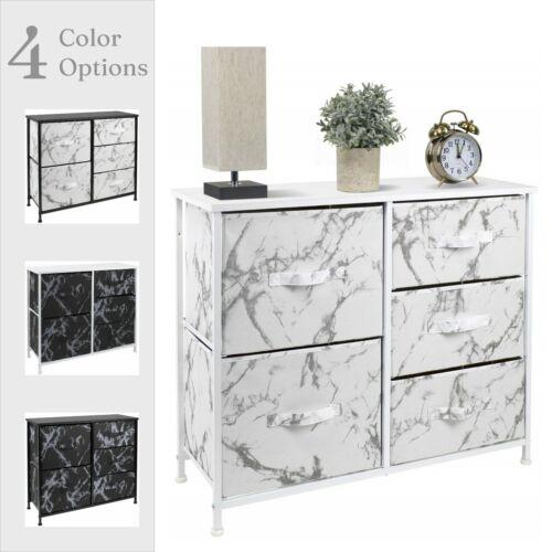 Sorbus Dresser W/ 5 Drawers - Marble Design Storage Chest Organizer Unit