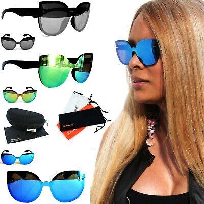 Große Gläser Verspiegelt Blau Grün Schwarz Brillenbox SER1 (Cat Eye Brille)