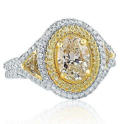 GIA Certified 2.16 Ct VS1 Oval Cut Yellow Diamond Engagement Ring 18k White Gold