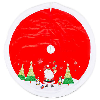 Festive Red Green White Santa 12 x 10 Polyester Decorative Holiday Tree Skirt