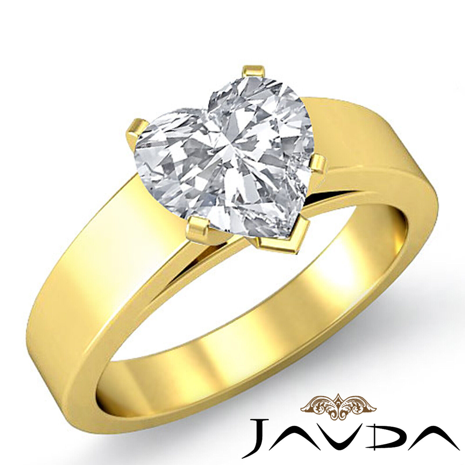 Heart Diamond Cathedral Engagement Solitaire Gold 5.5mm Ring GIA E VS2 0.50 ct. 1