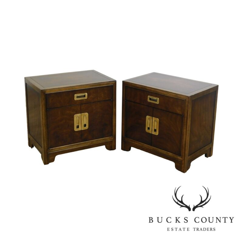 Drexel Heritage Dynasty Collection Campaign Style Pair Nightstands