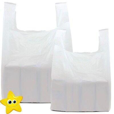 100 x WHITE PLASTIC VEST CARRIER BAGS 10x15x18