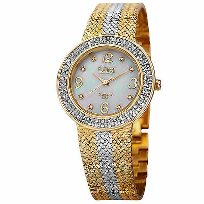 New Women's Burgi BUR097TTG Swiss Diamond MOP Dial Two-tone Mesh Bracelet Watch