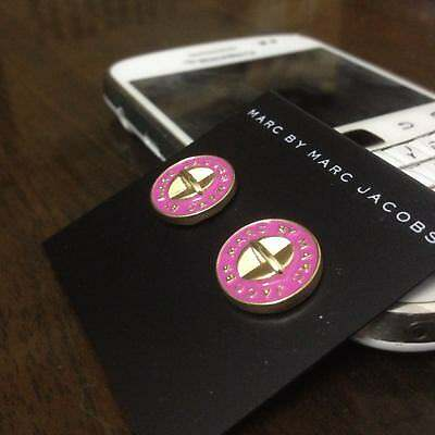 New Marc By Marc Jacobs Gold & Fuchsia Logo Button Disc Stud Earrings New Logo Button Earrings