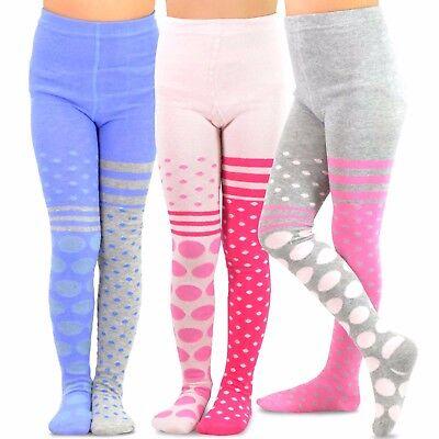 TeeHee Kids Girls Fashion Footless Tights 3 Pair Pack (Big & Small Dots) Cute