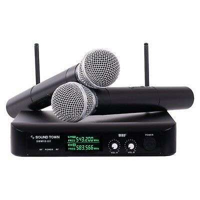 Sound Town Professional Dual-Channel UHF Wireless Microphone System LED SWM10-U2