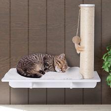 Wall-Mounted Cat Shelf W/ Scratching Post, Toy, Berber Fleece Mat Wood Kitten
