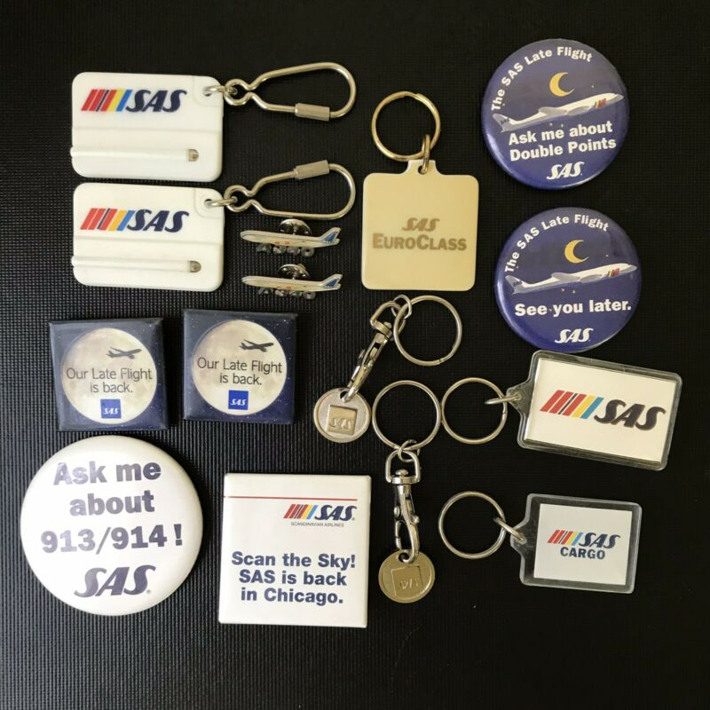 Lot Of 15 SAS Scandanavian Airlines Pins & Keychains