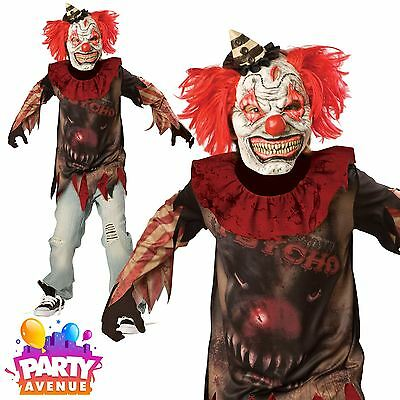 Circus Sideshow Halloween Costumes (Boys Teen Sideshow Circus Clown Halloween Costume Fancy Dress)