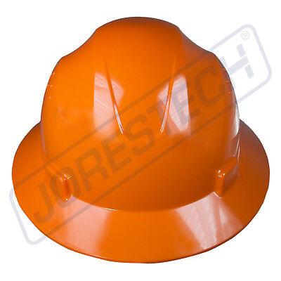 Orange Hard Hat Full Brim Jorestech 4 Point Ratchet Suspension Construction Ansi