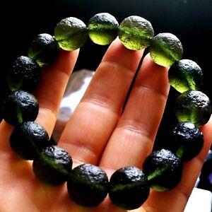 Green GEM MOLDAVITE Meteorite Impact Glass Bead Bracelet - 15Beads / 249.75Cts