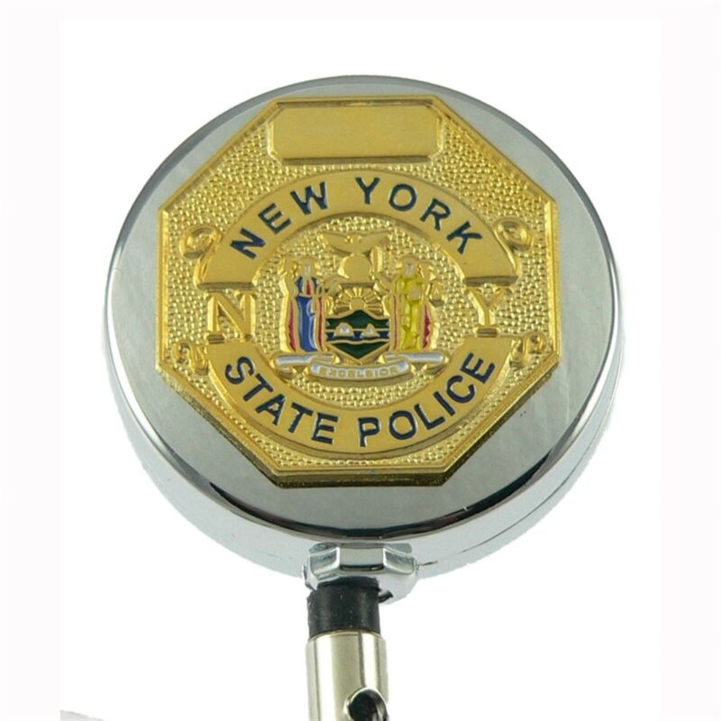 NYSP Badge Reel Retractable ID Holder New York State Trooper Police Lanyard