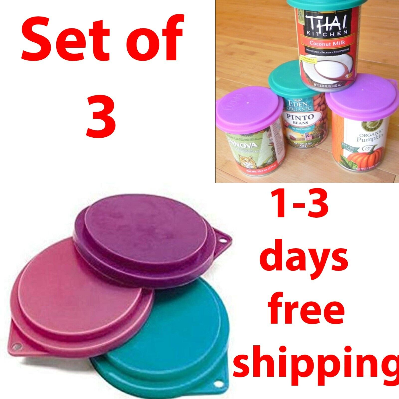 Pet Food Can Covers Lids Assorted Colors 3-1/2 inches Dog Cat Pet Set of 3