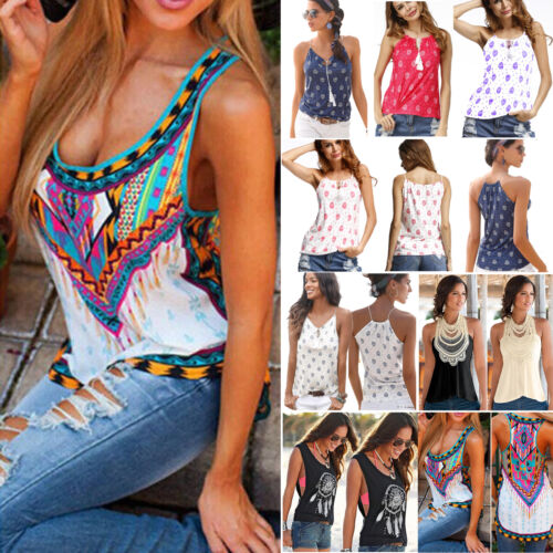 women boho tank tops sleeveless loose vest