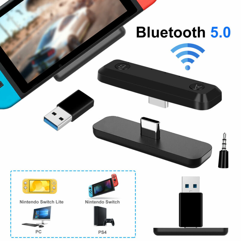 For Nintendo Switch/Lite PS4 PC Bluetooth 5.0 Adapter HIFI Audio Tranceiver 5mm