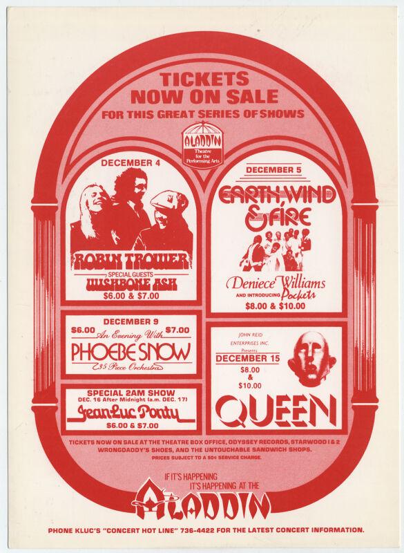 QUEEN, Robin Trower Original 1977 Las Vegas Concert Handbill / Giant Postcard