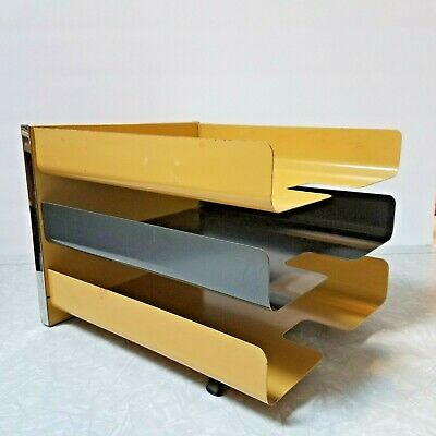 Vintage Mid Century Modern Metal Paper Tray Desk Organizer- Harvest Gold Black