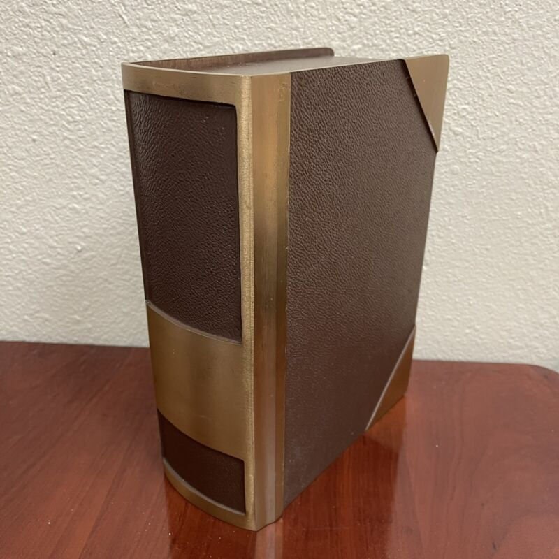 Large Book Cremation Urn screw on top brass
